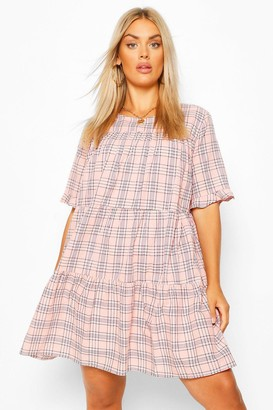 boohoo Plus Check Tiered Smock Dress