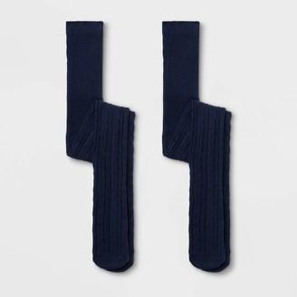 Cat & Jack Girl' 2pk Uniform Cotton Cable Texture Tight - Cat & JackTM Navy