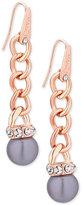 GUESS Rose Gold-Tone Pavé Gray Imitation Pearl Drop Earrings