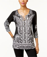 JM Collection Petite Printed Toggle-Hardware Top, Only at Macy's