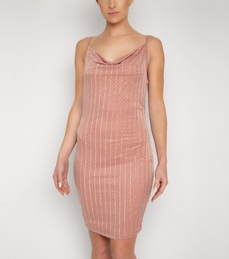 New Look NaaNaa Diamante Stripe Cowl Neck Dress