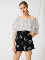 Maje Embroidered belted crepe shorts