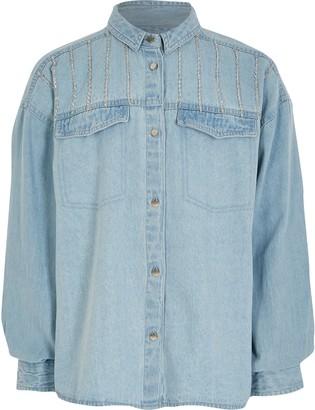 River Island Girls Blue diamante denim shirt