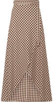 Miguelina Gingham Cotton Wrap Maxi Skirt - Dark brown