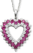 JCPenney FINE JEWELRY Lab-Created Ruby & White Sapphire Heart Pendant Necklace