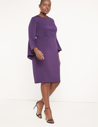 Flare Sleeve Scuba Dress