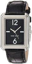 Nine West Women's Quartz Metal and Leather Dress Watch, Color:Black (Model: NW/1947BKBK)