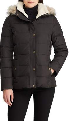 Lauren Ralph Lauren Down Puffer Jacket with Faux Fur Trim