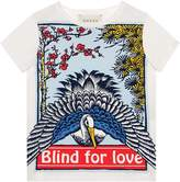 Gucci Kids Children's T-shirt with Blind for Love and heron print