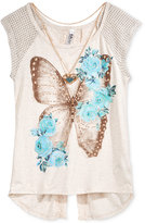 Beautees Split-Back Graphic Top & Necklace, Big Girls (7-16)