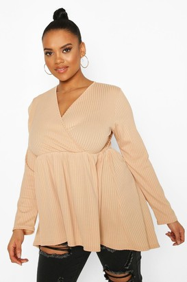 boohoo Plus Wrap Dipped Back Tunic Jersey