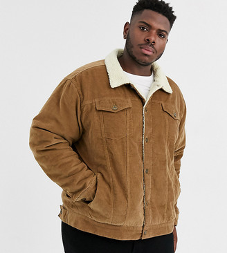 Le Breve Plus borg cord jacket in brown