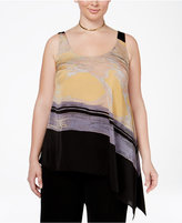 Rachel Roy Curvy Trendy Plus Size Asymmetrical Printed Tank Top