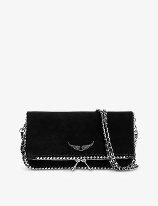 Zadig & Voltaire Rock studded suede clutch bag