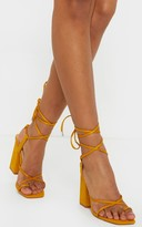 Stylish Mustard Chunky Block Heel Strappy Ankle Tie Sandal