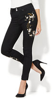 New York & Co. Soho Jeans - Embroidered High-Waist Ankle Legging - Black