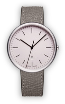 Uniform Wares M38 Women's date watch in polished steel with grey textured calf leather strap