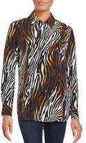 Equipment Reese Animal-Print Silk Blouse