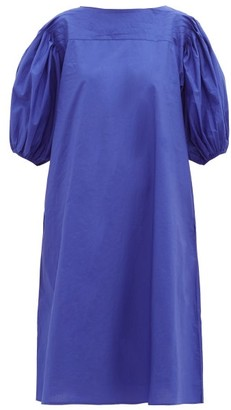 Merlette New York Aster Puff-sleeved Cotton-poplin Dress - Blue