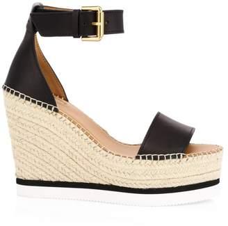 See by Chloe Glyn Leather Platform Wedge Espadrille Sandals