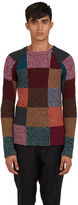 Valentino Men's Patchwork Knit Crew Neck Sweater In Multicolour