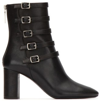 Saint Laurent Lou Buckle Strap Ankle Boots