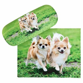 VON LILIENFELD Chihuahuas Glasses Case Present Cleaning Cloth Spectacle Cases Lightweight Stable Dog Animal
