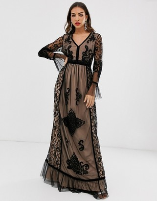 Frock and Frill lace detail long sleeve maxi dress-Black