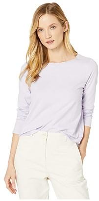 Eileen Fisher Organic Cotton Jersey Crew Neck Shirttail Hem Tee (Wisteria) Women's Clothing