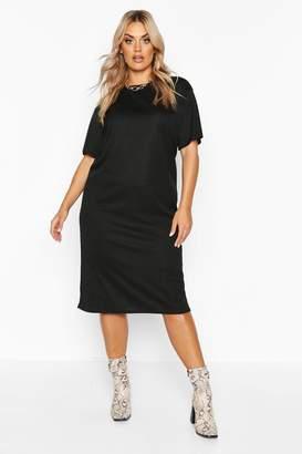 boohoo Plus Rib Knit Midi T-Shirt Dress