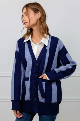 J.ING Croon Blue Panel Cardigan