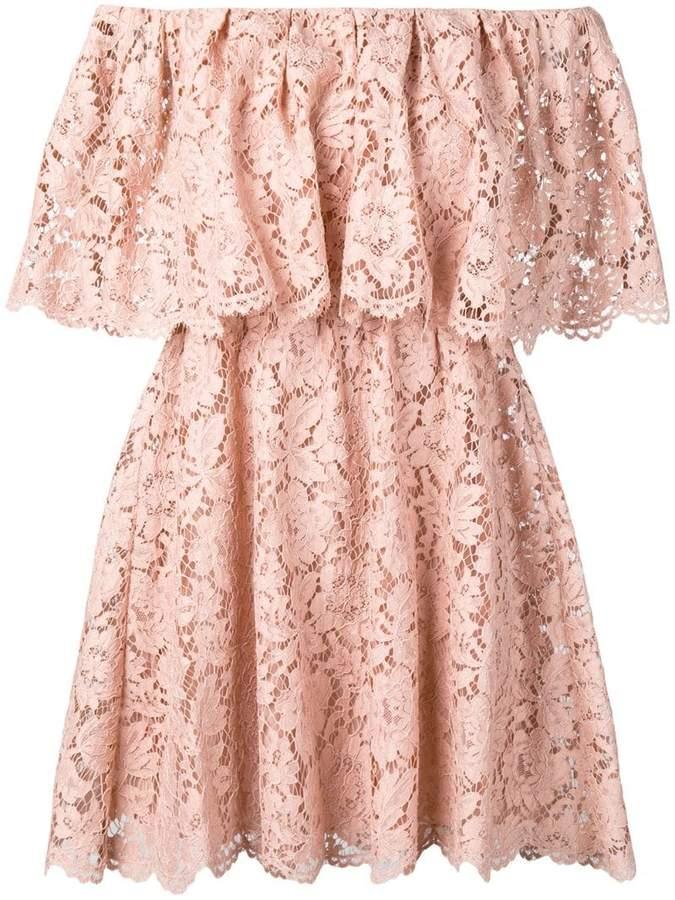 Valentino floral lace off-shoulder dress