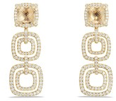 David Yurman Ch'telaine Pavé Bezel Triple Drop Earrings with Champagne Citrine and Diamonds in 18K Gold