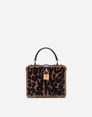 Dolce & Gabbana Dolce Box Bag In Leopard Print Velvet Stitch
