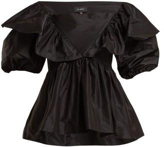 Isa Arfen Victoria Square Boat-neck Silk-taffeta Top - Black