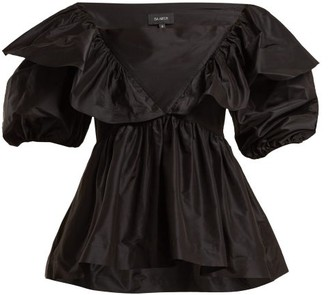 Isa Arfen Victoria Square Boat-neck Silk-taffeta Top - Womens - Black