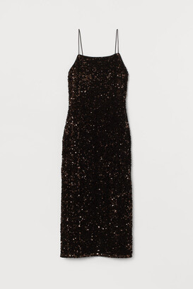 H&M Fitted Sequined Dress - Brown