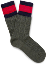 Gucci Stripe-Trimmed Cable-Knit Stretch Wool-Blend Socks