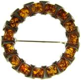 Cozmos Brooches BALTIC AMBER AND STERLING SILVER 925 DESIGNER COGNAC BROOCH PIN JEWELLERY JEWELRY
