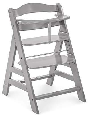 Hauck Alpha+ Wooden Height Adjustable Highchair with 5 Point Harness - Grey