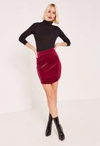 Missguided Pink Velvet Curved Hem Mini Skirt
