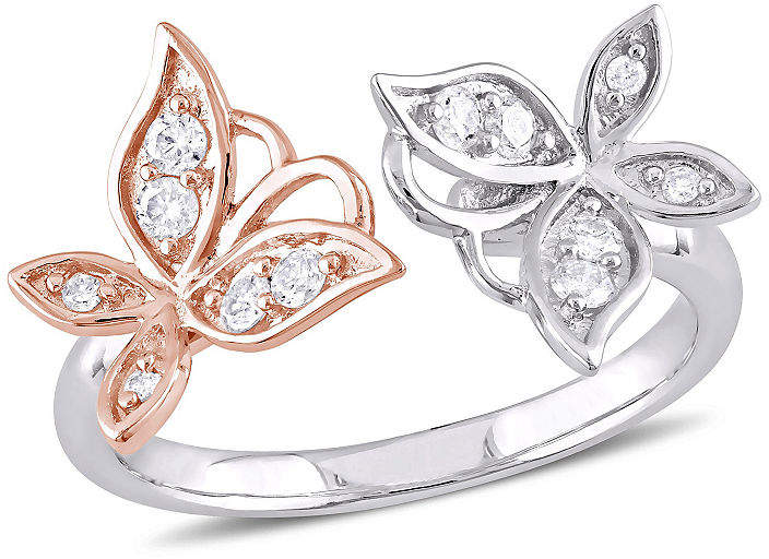 Laura Ashley FINE JEWELRY Womens 1/4 CT. T.W. Genuine White Diamond Sterling Silver Flower Cocktail Ring