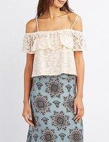 Charlotte Russe Lace Crochet-Trim Cold Shoulder Top