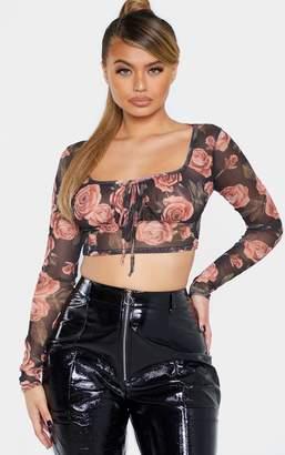 PrettyLittleThing Black Floral Printed Sheer Mesh Elastic Tie Crop Top