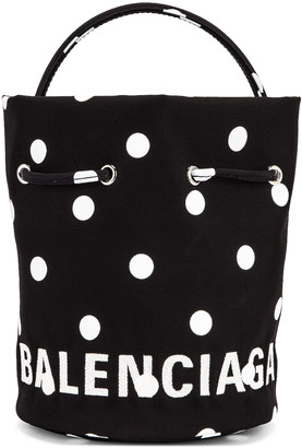 Balenciaga XS Wheel Drawstring Bucket Bag in Polka Dot | FWRD