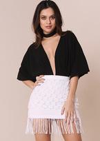 Missy Empire Myla White Crochet Tassel Hem Mini Skirt