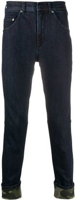 Neil Barrett Camouflage Print Hem Skinny Jeans