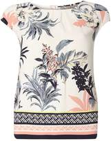 **Billie & Blossom Floral And Stripe Print Border Shell Top