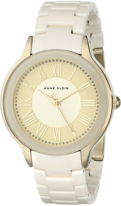 Anne Klein Women's AK/1948IVGB Gold-Tone and Ivory Watch with Ceramic Bracelet