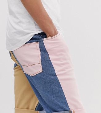 Asos Design DESIGN Tall slim denim shorts in block colour panel-Pink